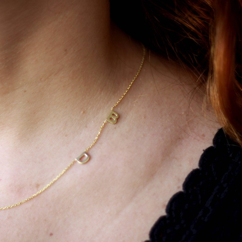 18k solid gold two initial necklacegold initial necklacesideways tiny letter necklace two letter necklacepersonalized necklace