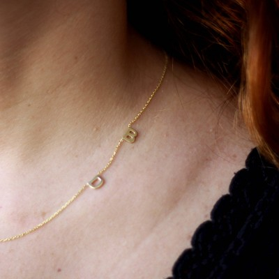 18k Solid Gold Two Initial Necklace,Gold Initial Necklace,Sideways TINY Letter Necklace ,Two Letter Necklace,personalized Necklace