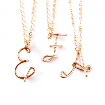 18k Solid Rose Gold Initial Pendant. Custom Personalized Solid Rose Gold Initial Necklace. Calligraphy Necklace