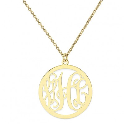 "18k Solid Yellow Gold 3 Initials Monogram necklace - 1/2"" any initial Gold monogram necklace"