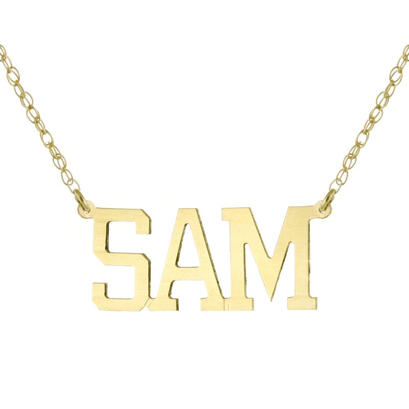 36103ff486d73a 18k Yellow Gold Clad 925 Sterling Silver Personalized Custom Made Any Nameplate  Pendant Necklace