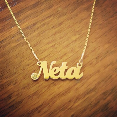 18k Yellow Gold Name Necklace ORDER ANY NAME Real gold Birthstone Nameplate Necklace Nameplate Necklace Christmas Gift Mother Day Gift