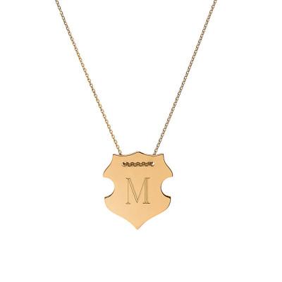 18k gold engraved shield necklace