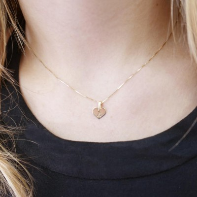 18k gold necklace. Initial pendant. Letter charm necklace. Personalized necklace. Gold pendant necklace. initial necklace. Heart initial