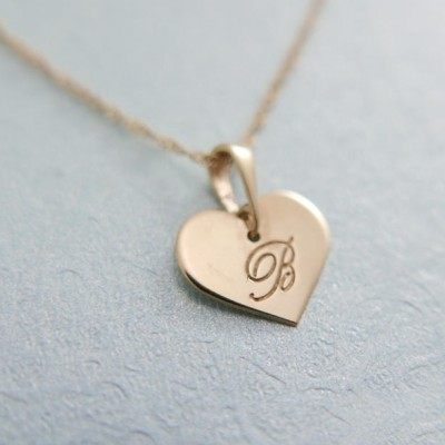 18k gold necklace. Initial pendant. Letter charm necklace.heart Personalized necklace. Gold pendant necklace. initial necklace.Gift ideas