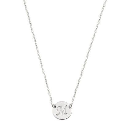 18k solid white gold Initial Necklace Gold Disc Necklace, Personalized Jewelry, Initial gold necklace,