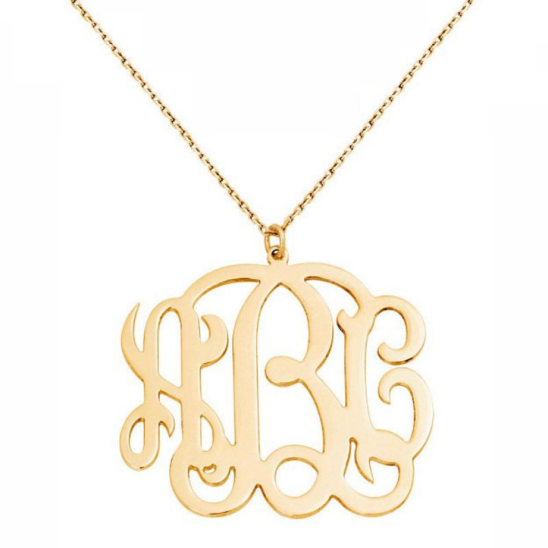 3da9eeb42e1de 18k solid yellow gold 3 Initials Monogram necklace - any initial Gold  monogram necklace