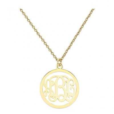 18k solid yellow gold 3 Initials Monogram necklace - any initial Gold monogram necklace