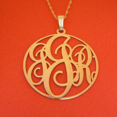 18kt Gold Monogram Necklace Custom Monogram Necklace 3 Initials Monogram Circle Monogram Round Monogram Monogram 1.25 Inch Monogram Necklace