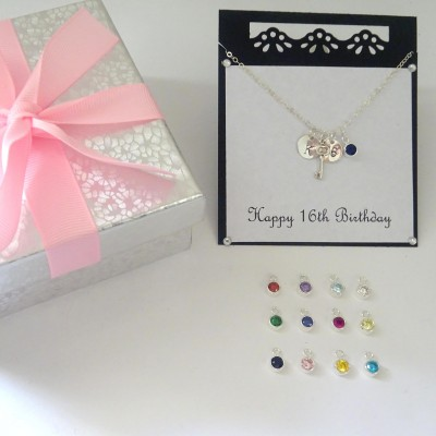 16th Birthday necklace, Personalized Birthstone Necklace with Message Card, Sweet 16, Key Necklace, Initial necklace, Granddaughter gift