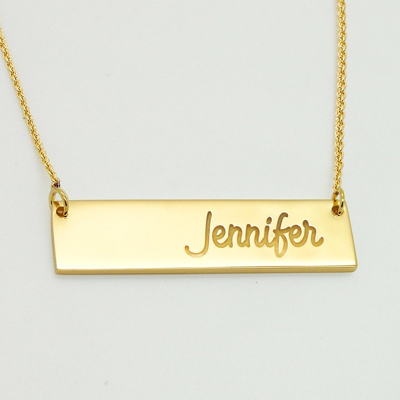 hope necklace Personalized 18k gold plated bar name necklace