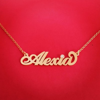 18k Gold Name necklace 18ct Gold Name Necklace 18k Gold Name Chain Sister Necklace 18 karart Gold Nameplate Chain Name Gold Necklace Name