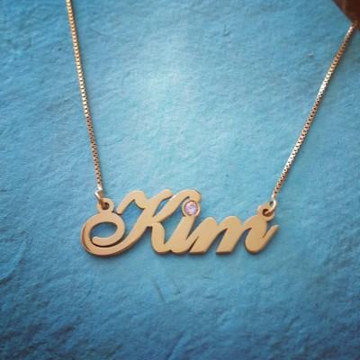 18k Gold Plated ANY Name Necklace With My Name Chain Gold Name Necklace Order Any Name Personalized Jewelry Birthstone Nameplate Pendant KIM