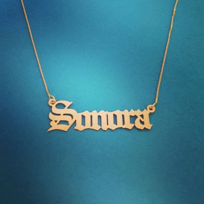 18k Gold plated Name Necklace Gothic Name Necklace Old English Necklace Personalize Old English Name Necklace Custom Jewelry Christmas Gift
