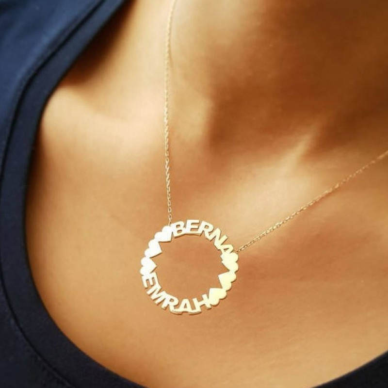 New Mom Necklace Baby Name Necklace Handstamped Jewelry Circle Name Necklace Mummy Necklace Kids Name Necklace Bridesmaid Gift