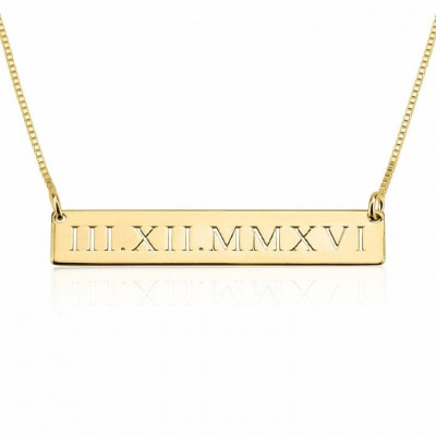 24k Gold Plated Personalized Roman Numeral Engraved Bar Necklace