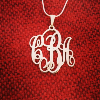 3 Initial Monogram Necklace Monagram Silver Necklace Gift Mongram Pendant Woman 3 Initial Necklace Mongram Necklaces Monogramm Necklaces