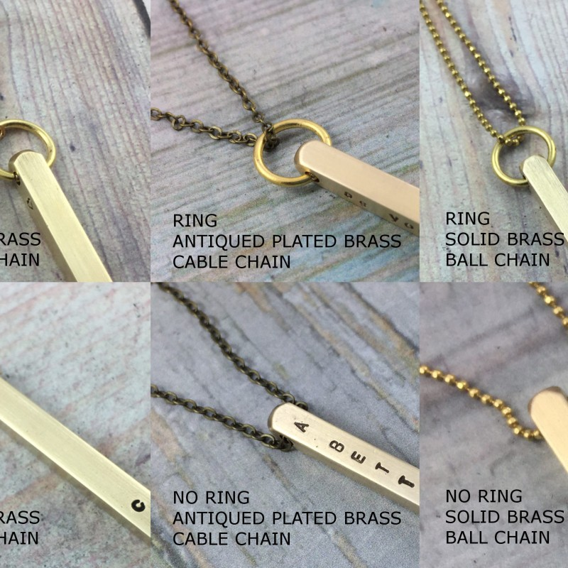 2dad3c66569be 4x50mm Brass 4 Sided Bar Necklace, Personalized Hand Stamped ...