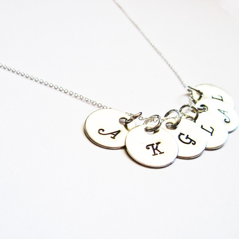 6 Initial Necklace Personalized Disc Necklace Mom Kids