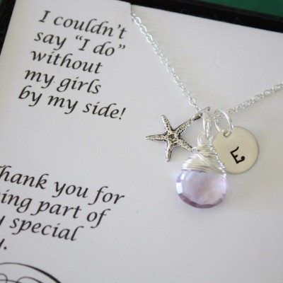 8 Monogram Bridesmaid Necklace Starfish, Bridesmaid Jewelry, Beach Wedding, Sterling Silver, Personalized, Initial jewelry, Thank you Card