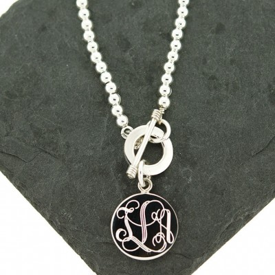 925 Sterling Silver 4mm Monogram Bead Toggle Necklace, Monogram Necklace, Add a Bead Necklace, Tag Necklace