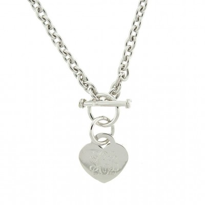 925 Sterling Silver Rhodium Heart Tag Toggle Monogram Necklace, Link Necklace, Personalized Necklace, ID Necklace