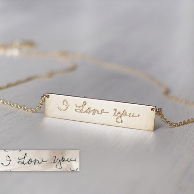 Actual Handwriting Bar Necklace - Personalized Signature Necklace - Silver, Gold, Rose Gold - Mothers Gifts - PN10.30
