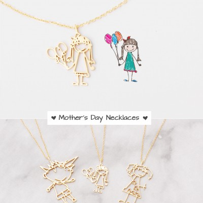 Actual Kid's Drawing Necklace - Children Artwork Necklaces - Happy Mother's Day Jewelry - Special Jewelry for Moms - Gifts for Mom - #PN01DR