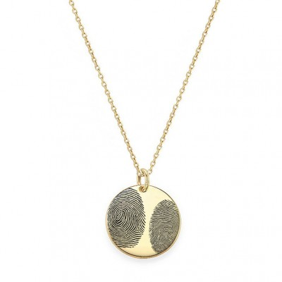 "Actual Two Fingerprint 3/4"" disc Necklace in 18k Yellow Gold Plated 925 Sterling Silver, Personalized Fingerprint Jewelry, Christmas Gifts"