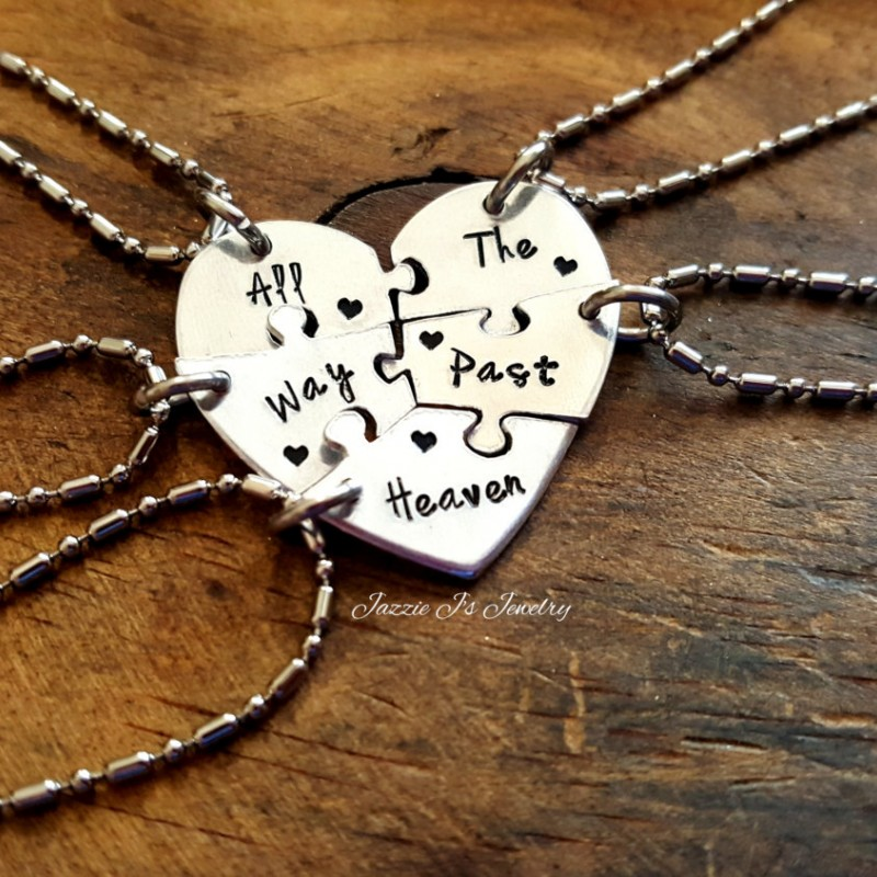80752c3ff All The Way Past Heaven Five Piece Puzzle Heart Necklace Set, Handstamped 5  Split Heart Necklaces, Sisters/Best Friends Set, Family Jewelry