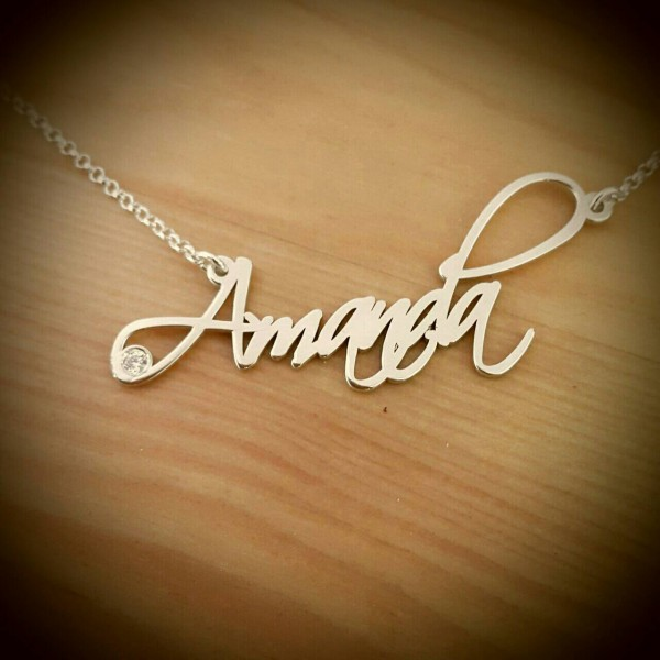 Amanda Style Name necklace/ Silver name necklace/ORDER ANY NAME! Birthstone personalized necklace/ handwriting necklace/ Signature name