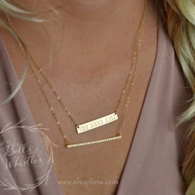 Anniversary Gift, Roman Numeral Necklace Set, Diamond Bar Necklace, Personalized Bar Necklace, Gold Bar Necklace, Wedding date LA104 + LA140