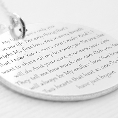 Anniversary Necklace - Premium Jewelry - Your Song, Lyrics Or Words