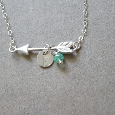 Arrow Necklace,Birthstone necklace, Arrow Charm, Sterling silver Arrow Jewelry, Personalized Hand Stamped disc, Initial Necklace