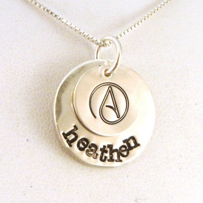 Athiest Necklace / Heathen Necklace / Atheist Name Necklace / Atheist Jewelry / Stacked Sterling Silver Jewelry / Freethinker Necklace
