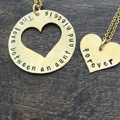 Aunt Gift. Niece Gift. Aunt Necklace. Niece Necklace. Hand Stamped Necklace. The love between an aunt and niece is forever. Necklace Set.