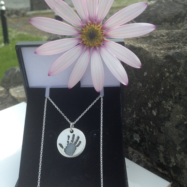 Baby Handprint pendant necklace. Newborn print New Mum Personalized print jewelery Silver handprint footprint pendants and charms