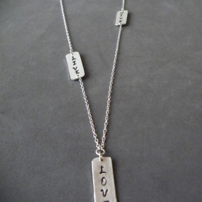 Bar Message Necklace Horizontal Vertical Personalized Plates Engraved Bar Necklace Inspirational Jewerly Name Monogram Layered Necklace