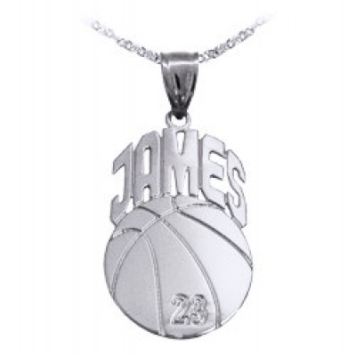 "Basketball Sport Charm 1.25"" Personalized with Name and Number - Sterling Silver - Made in USA"