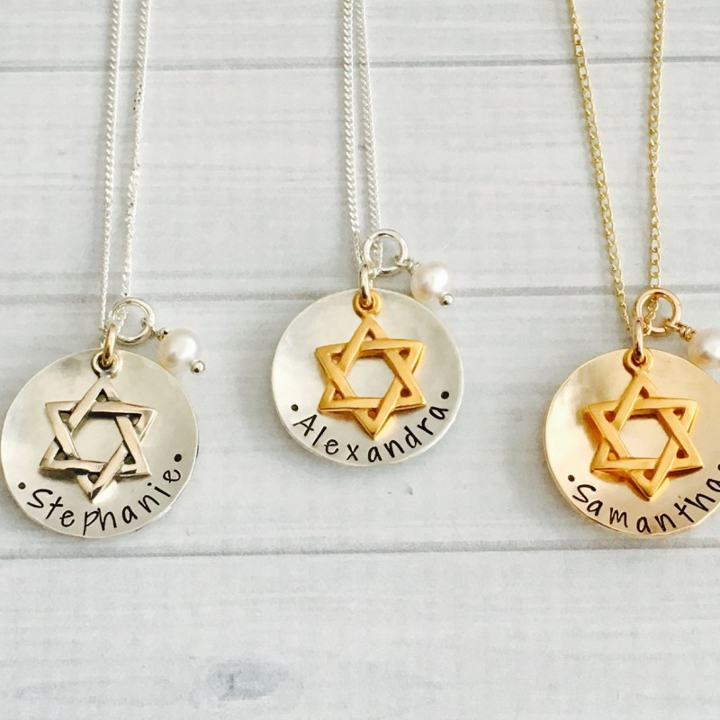 Bat Mitzvah Necklace - Bat Mitzvah Gift - Bat Mitzvah Jewelry - Bat Mitzvah Charm Necklace - Star of David Necklace - Hanukkah Gift