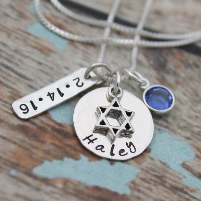 Bat Mitzvah Necklace with Date and Birthstone, Personalized Bat Mitzvah Necklace, Bat Mitzvah Gift, Hand Stamped ...