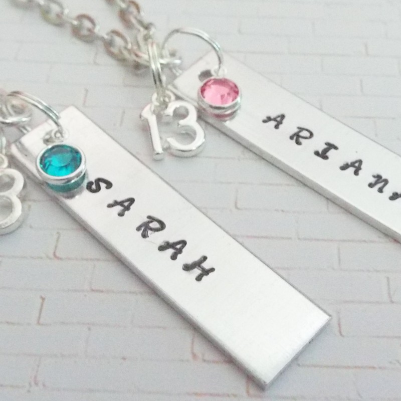Best Friend Gift Girl For 13 Year Old Friends Custom Name Bar Necklaces