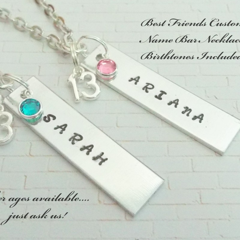 Best Friend Gift Girl For 13 Year Old Friends Custom Name Bar Necklaces 13th Birthday Girlfriend
