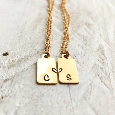 Best Friend Necklace For 2 , Matching Necklaces, Initial Necklace, Long Distance Friendship Necklace, Graduation Gift, Friendship Necklace