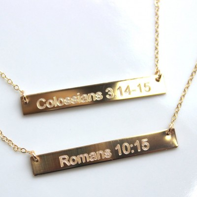Bible Verse Necklace. Custom Engraved Personalized Necklace - Nameplate Gold Bar - Sterling Bar Quote Necklace - Sentence Roman Numeral Date