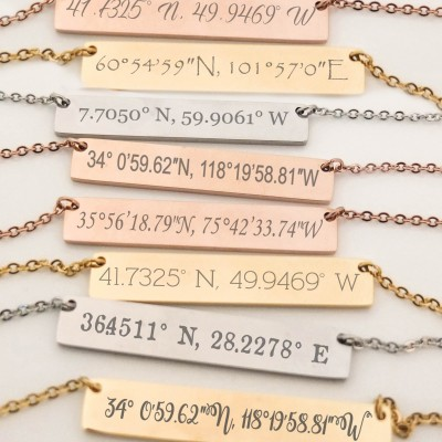 Bridesmaid Gift Set of 4 Personalized Bar Necklaces Jewelry Bar Necklace Customized Name Necklace Engraved Coordinates Bridesmaids Gifts