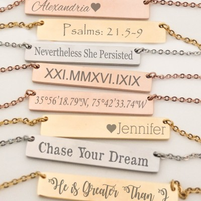 Bridesmaid Gift Set of 5 Personalized Bar Necklaces Jewelry Bar Necklace Customized Name Necklace Engraved Coordinates Bridesmaids Gifts
