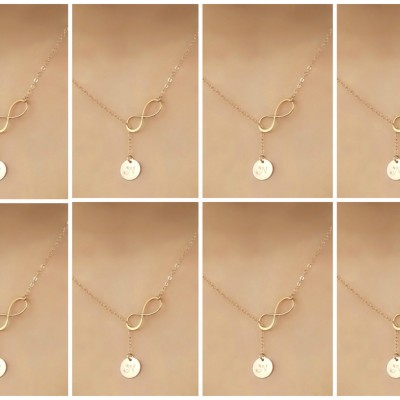 Bridesmaids sets, You choose quantity, 18kt Gold Plated infinity lariat Necklace, custom stamped initial disc, personalized monogram letter