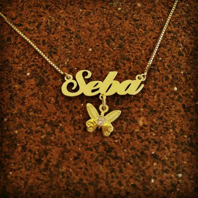 Butterfly Name Necklace / Personalized 18k Gold Plated Nameplate / gold and birthstone necklace / Made To Order Girls Name Necklace
