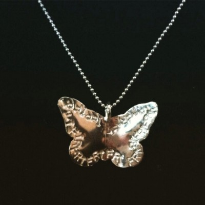 Butterfly, necklace, Sterling silver, silver, inscription, unique, chain, word, name, inspire, handmade, personal, Joanna Michie